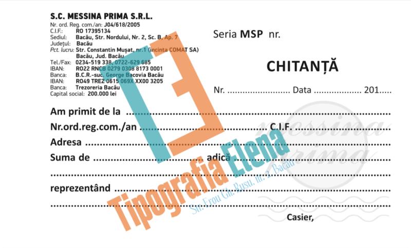 Tipografia Elena Bacau Chitanta